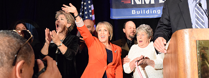 Democrat Michelle Lujan Grisham waits for her introduction to her victory speech for U.S. Congress at the Doubletree Hotel in Downtown Albuquerque on Tuesday, Nov. 4, 2014. (Mia Clark/NM News Port)