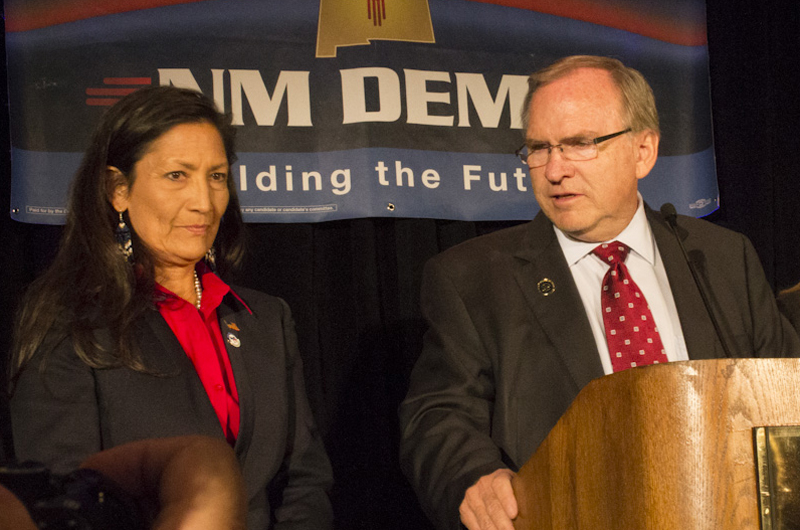 Democrats Gary King and Deb Haaland concede the gubernatorial election at the Doubletree Hotel in Downtown Albuquerque on Tuesday Nov. 4, 2014. (Autumn Iver/ NM News Port)