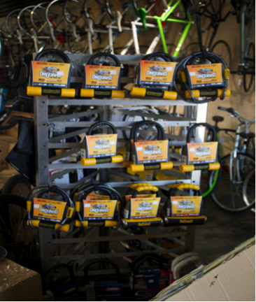 The Bike Coop sells a variety of locks. The U-lock is the most recommended lock for anti-theft purposes. Photo by Nayla Degreff.