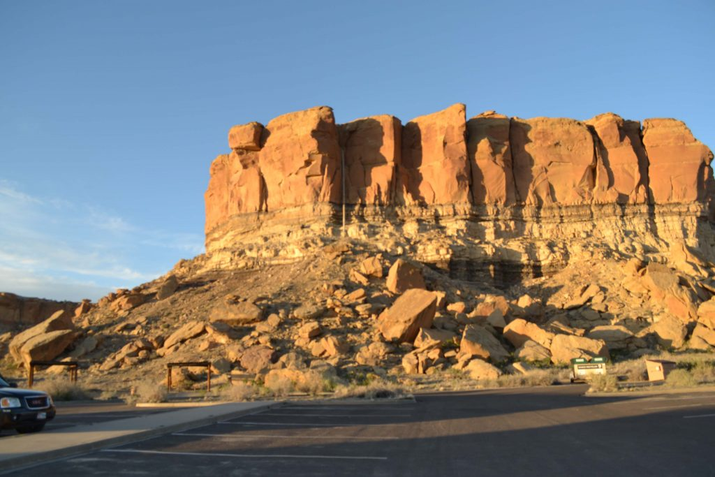 Canyon Loop Drive at Chaco-Culture National Historical Park is a scenic drive with many rock formations, like one pictured here near the visitor center. Photo by Tania Martinez/NMNP