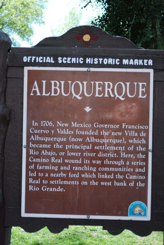 Official Historic Scenic Marker about Albuquerque's founding located in Old Town. Photo by Brian DeGruchy/NMNP