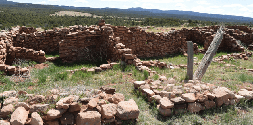 There are no barriers around the pueblo ruins but entering them is not allowed. Photo by Mia Clark/NMNP