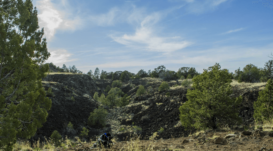El Malpais' terrain is made up of black basalt due to past volcanic activity. Photo by Evan Barela/NMNP