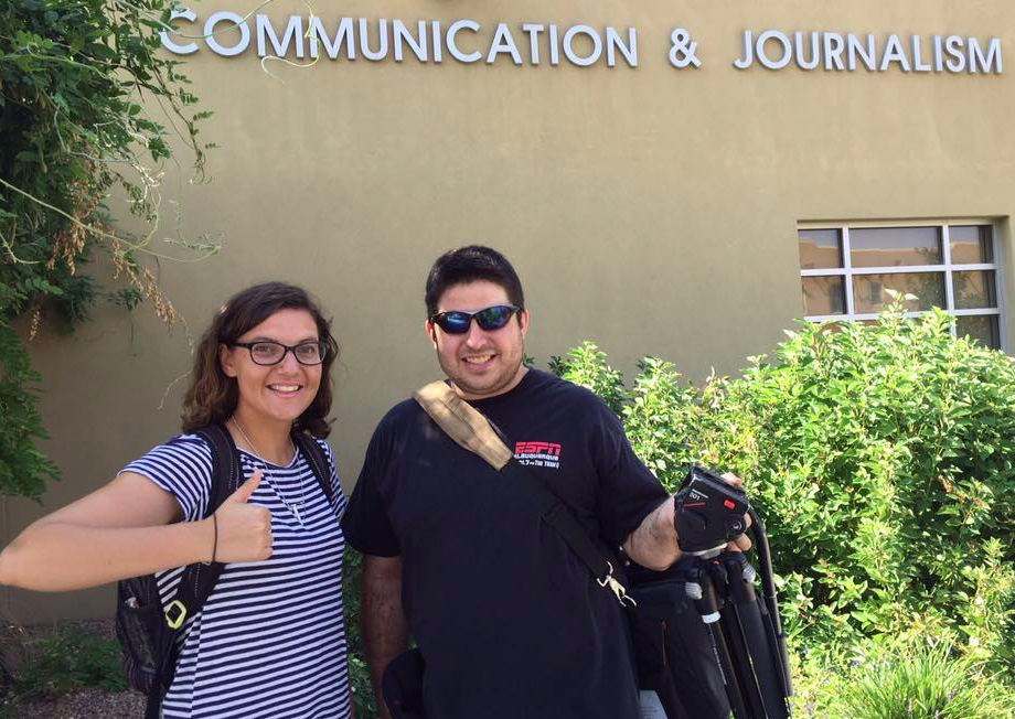 News Port interns Emily Ediger and Kenneth Ferguson pose outside the UNM Communication and Journalism building in August 2015. The department is one of several partners with the News Port. Others include local media outlets.