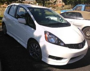 Tudor's personal 2013 Honda Fit which he uses when driving for Uber