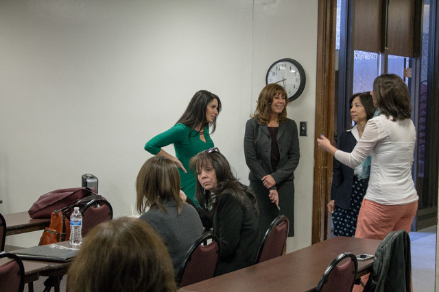 New Mexico Tech Council's Women in Technology Project brings together women in all areas of the tech industry. A group of women network before the talk starts.Photo by Nayla Degreff/NM News Port