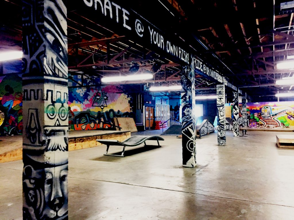 The Warehouse is filled with art done personally by youth members and mentors. Skaters can skate inside the Warehouse during skating hours. Photo by Mercedez Holtry/ NM News Port.