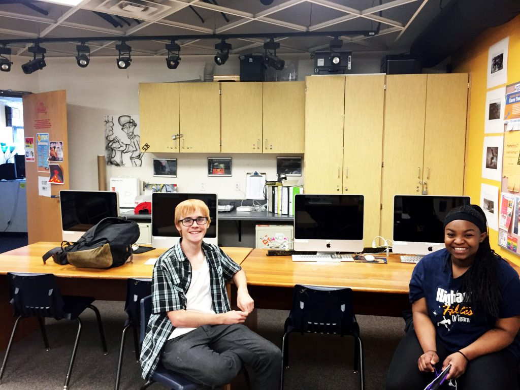 Youth members Lucas Smathers and D'nessa Mcdaniels are hanging out in the Mac Shack, waiting for their youth poetry class to start. Photo by Mercedez Holtry/ NM News Port