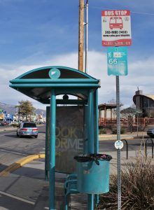 An ABQ Ride Route 66 bus stop located on Central Avenue. Route 66 is used most often by Albuquerque residents. Photo by Brenna Kelly / NM News Port