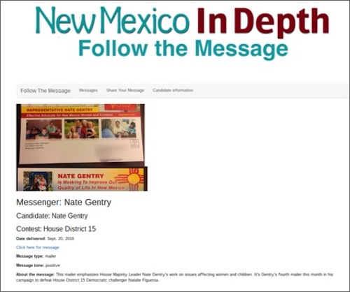 A campaign message submission on New Mexico In Depth's webpage, where contributors can send campaign messages to be uploaded to a searchable database. Source: New Mexico In Depth website / Fin Martinez
