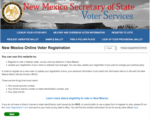 Snapshot of the NM voter registration page. The site has been active since the beginning of 2016. Source: Secretary of State website