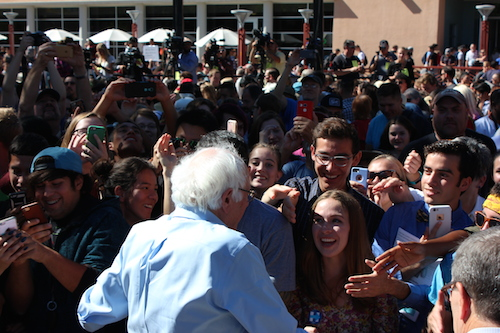Sen. Sanders shakes the hands of supporters after the rally. Sanders campaigned on behalf of presidential candidate Hillary Clinton. Photo by Jessica Robertson / NM News Port
