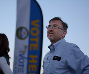 Dave Simon, candidate for State Senate District 10 at an Albuquerque westside voting location in Tuesday afternoon. Photo by: Ricky Garcia / News Port