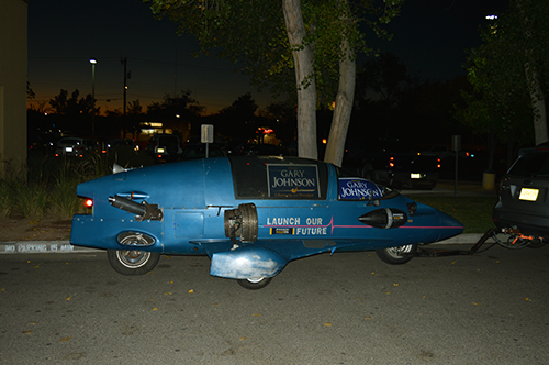 Gary Johnson rocket car stands in front of the entrance of Hotel Albuquerque on election night. Photo by Viridiana Vasquez / NM News Port
