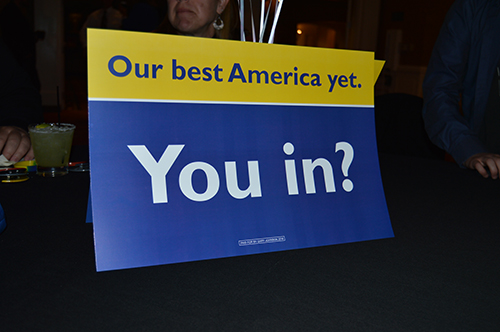Our Best America Yet. You In? poster put in the middle of the tables around the event. Hotel Albuquerque Nov. 8, 2016. Photo by Viridiana Vasquez / NM News Port