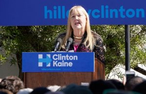 Elizabeth Thomson (D), candidate for NM House Representatives, District 24, speaks to a rally at the University of New Mexico on October 19th, 2016. Thomson appeared with Vermont Senator Bernie Sanders, as he campaigned for Hillary Clinton.