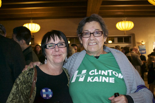 Bernice Romero (left) and Laurie Jammison (right) anxiously await the election results, with hope that Hillary Clinton would win. Photo by Mercedez Holtry / NM News Port