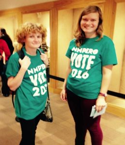 Cassandra Tofoya (left) and Hannah Perkins (right) stand outside the ballroom encouraging student voters to spread the word on where to vote here at the University of New Mexico. Some UNM students say the location is convenient for them
