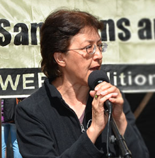 Gloria La Riva spoke at the End Sanctions and Interventions Campaign. La Riva says that activism is important to her. Photo from www.glorialariva4president.com