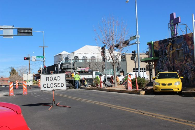 Road Closed in front of Astro