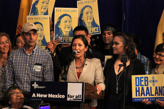 Democrat Debra Haaland won the first U.S House of Representative seat over Republican Janice Arnold-Jones on Tuesday night at Hotel Albuquerque. Photo By Amy Byres/ NM News Port
