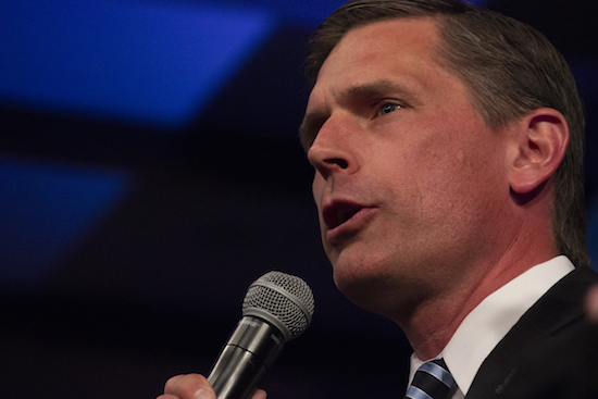 Reelected Senator Martin Heinrich takes the stage to give his victory speech on Tuesday night at Hotel Albuquerque. Photo By Amy Byres/ NM News Port