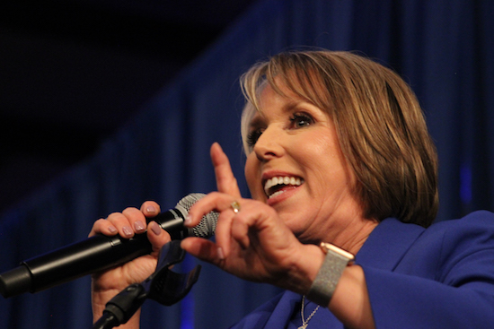Newly elected governor Michelle Lujan Grisham wings her victory speech after a technical difficulty on Tuesday night at Hotel Albuquerque. Photo By Amy Byres/ NM News Port