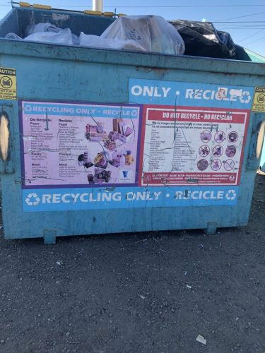 Recycle Dumpster Close up