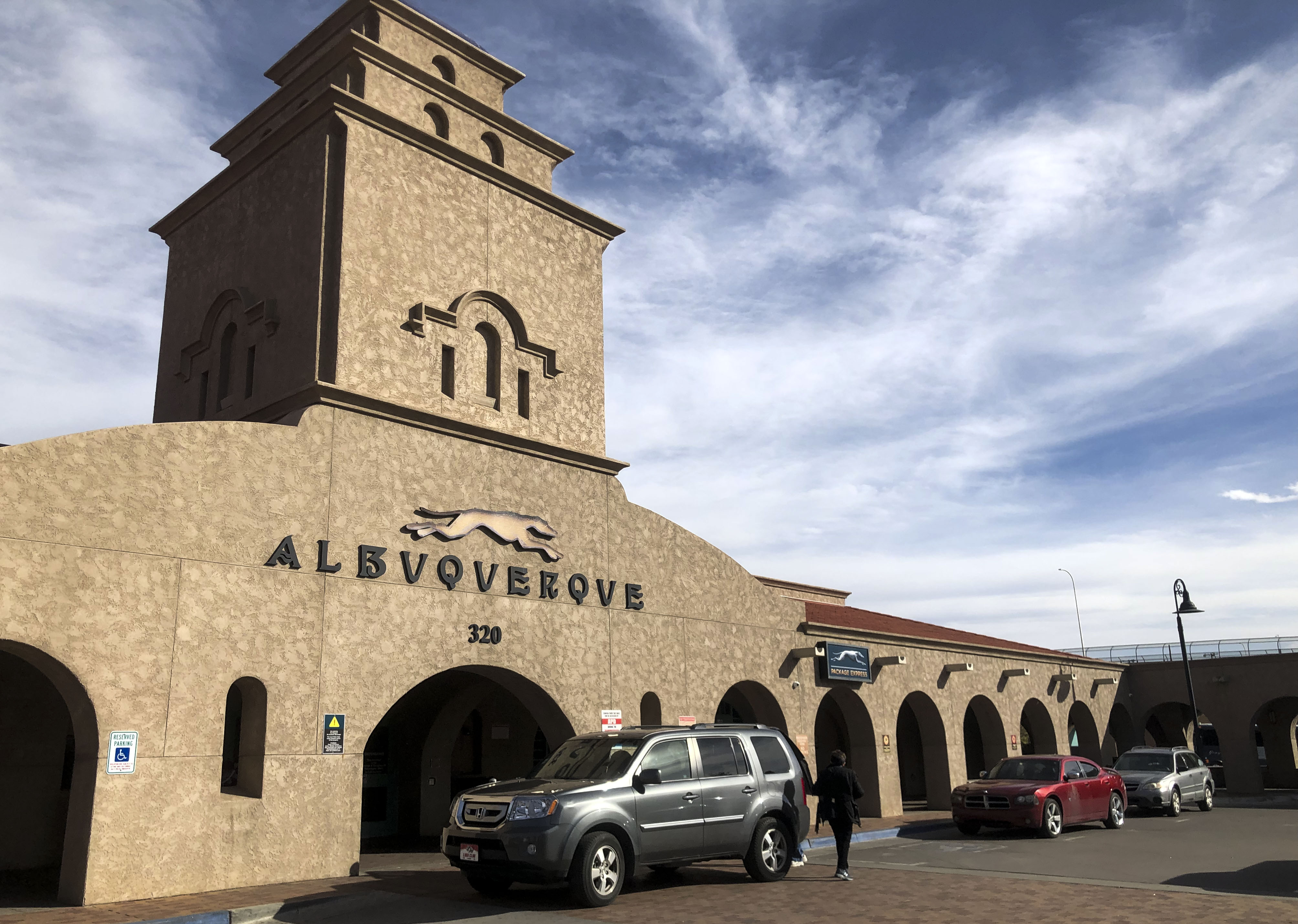 Outside the Greyhound Bus station in downtown Albuqueruqe, March 05, 2019.