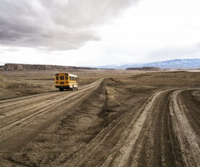 School bus on Indian Service Route 5010 near Sanostee, New Mexico