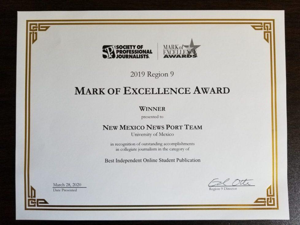 photo of award certificate