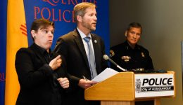 picture of abq mayor tim keller speaking at press conference