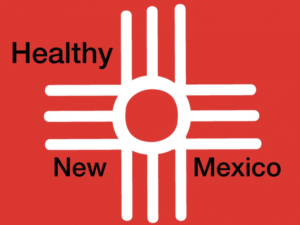 """mix of red cross and zia symbol with wording """"healthy new mexico"""""""