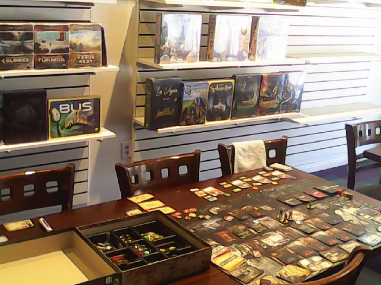 table game set up but no players in Empire Board Game Library in Albuquerque