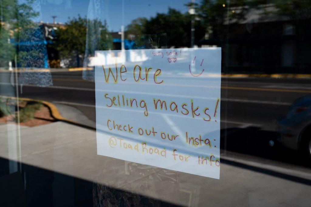sign says masks are being sold here
